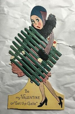 """1920's Die Cut 8 1/4"""" Standing Valentine's Day Card Woman Holding A Gate Germany"""