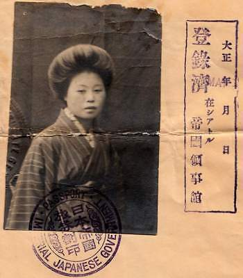 IMPERIAL JAPAN PASSPORT 1919, young girl in Kimono travelling to USA. Fantastic!