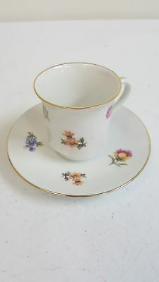 Vintage Ceramic Hand Painted Tea Cup & Saucer Set w/ Floral Pattern Gold Lining