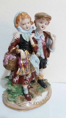 Old Meissen Porcelain Figure Hand Painted Statue Two Children Statue SIGNED !