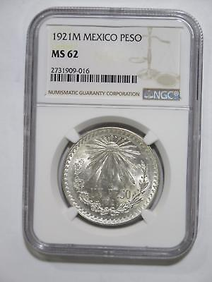 Mexico 1921 Un Pesos Cap & Rays Key Date Type Ngc Ms62 World Coin Collection Lot