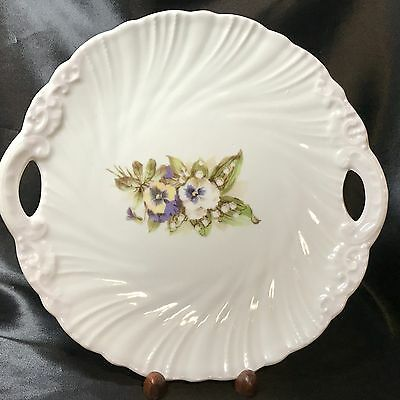 Vintage Victoria Carlsbad Austria Porcelain Charger Plate with Handles