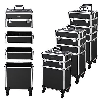 AW® 4in1 Aluminum Makeup Case Cosmetic Trolley Beauty Train Trays Box Organizer
