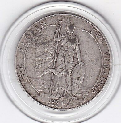 1909   King  Edward  VII  Florin  (2/-) Sterling Silver (92.5%)  Coin