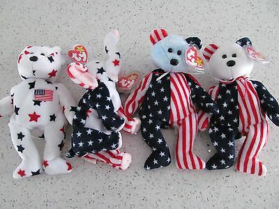 Beanie Baby Lot of 4 Stars and Stripes Spangle, Righty 2000, Glory