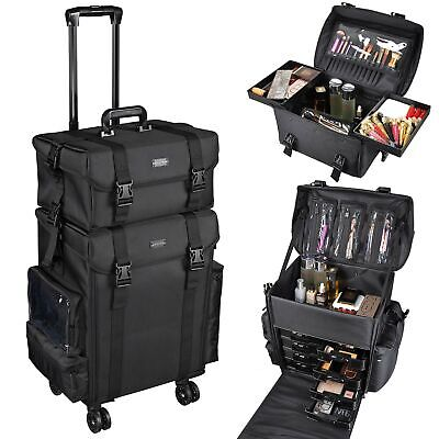 AW 2in1 Soft Rolling Makeup Case Cosmetic Artist Salon Oxford Train Bag w/Drawer
