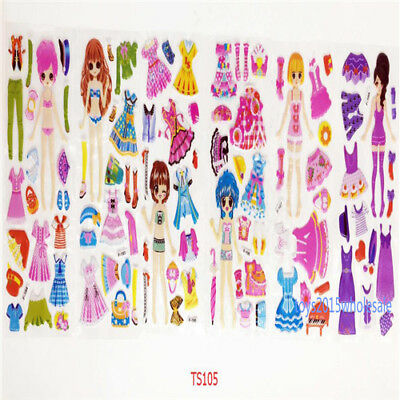 6sheets 3d Pvc dress up princes stickers Lot Funny Kids Favor party Gifts reward