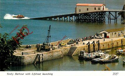 Picture Postcard; TENBY HARBOUR WITH LIFEBOAT LAUNCHING
