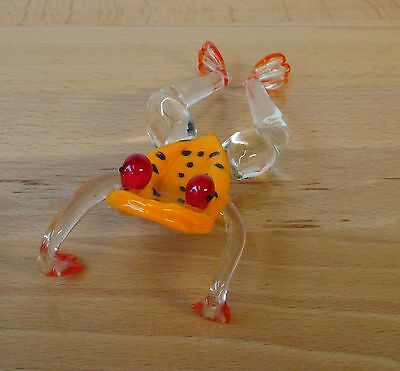 FROG Glass Art Sculpture Orange