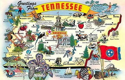 Picture Postcard~ Tennessee, Map