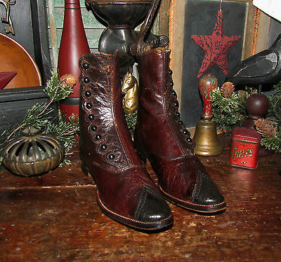 Antique Vtg 1800's VICTORIAN Black Brown CUT LEATHER BUTTON BOOTS Girl SHOES
