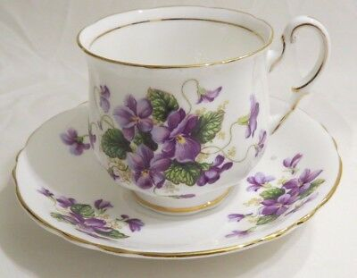 Paragon Valentine Tea Cup And Saucer Gold Trim Purple Flowers