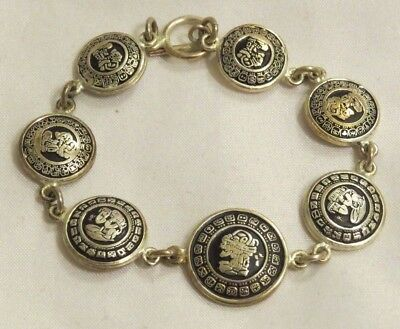 Vintage Taxco Sterling Silver 925 Bracelet Faces Round Raised