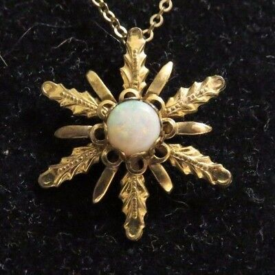 1/20 12K Gold Filled Opal Pendant And Chain Gf Vintage Not Scrap Wearable