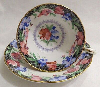Paragon Red Blue Flowers Cup And Saucer Hand Painted Gold Trim Black Vintage