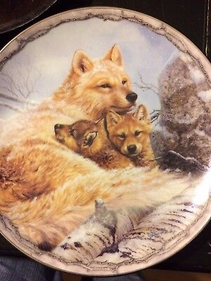 Wolf Collector Plate, Blanket of Love in Sheltering Love, Collectible Art