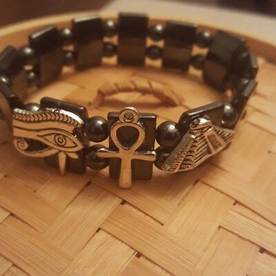 Ancient Egyptian Charms Hematite Bracelet -(Eye of Ra, Ankh, and Pyramid Charms)