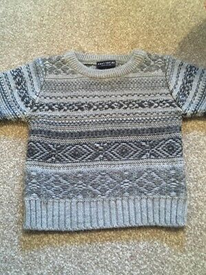 Baby Boys NEXT Grey Knitted Jumper 6-9 Months