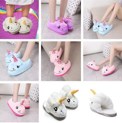 Adult Plush Winter Soft Cute Warm Men Women Unicorn Slippers Home Indoor Shoes B