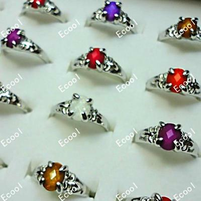 10pcs acrylic resin silver-plated rings wholesale women jewelry free shipping