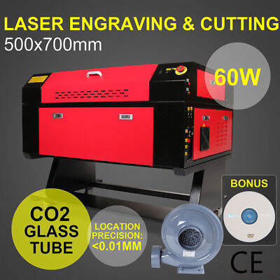 60W USB CO2 700*500MM Laser Cutter Engraver Laser Cutting Engraving Machine