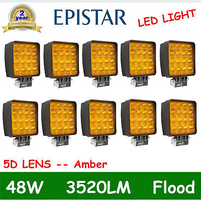 10X 5D Opticals 48W Cube Pods Led Work Light FLOOD Driving Amber Square 12V 24V