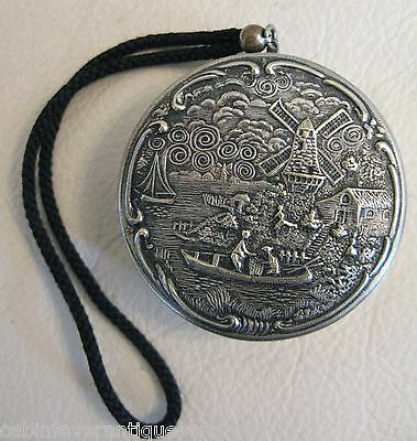 Antique Victorian Dutch Holland Windmill Figural Couple Boat Silver T Compact