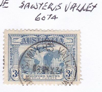 *WA POSTMARKS.SAWYERS VALLEY.Type D27.On 3d commem.Rated3.*