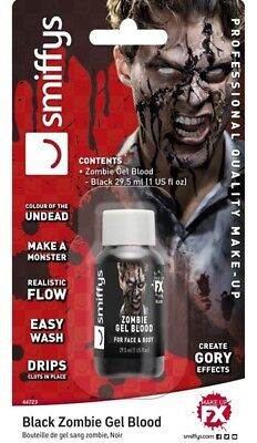 Zombie Gel Sangue nero finto SPECIAL FX MAKE UP HALLOWEEN Black Blood 44723
