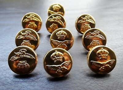 10 x BELGIAN MILITARY METAL BUTTONS size 15mm Manufactured by CAPA BRUXELLES