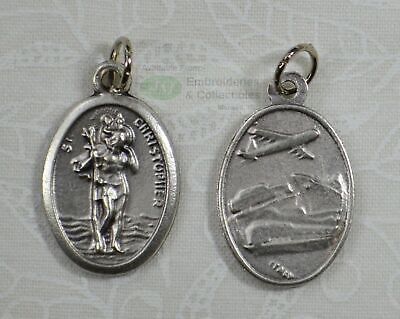 SAINT CHRISTOPHER Travel Medal Pendant, SILVER TONE, 22mm X 15mm, MADE IN ITALY