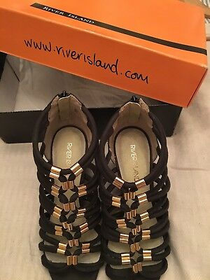 WEDGE SANDALS RIVER ISLAND CHARCOAL . Size 6