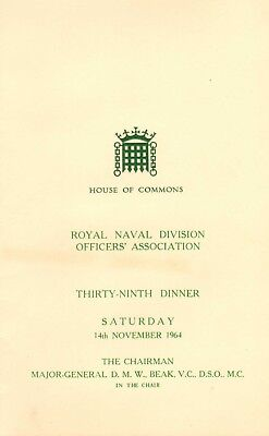 royal naval division officer's association 39th dinner ( house of commons )1964