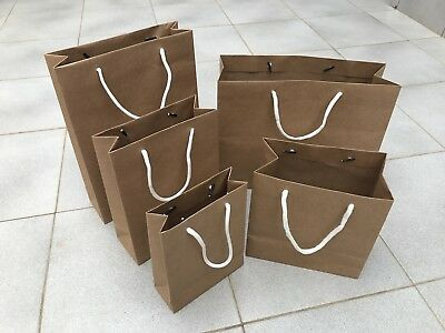 25 200 Bulk Brown Kraft Craft Paper Gift Carry Bags With Handles Various Size