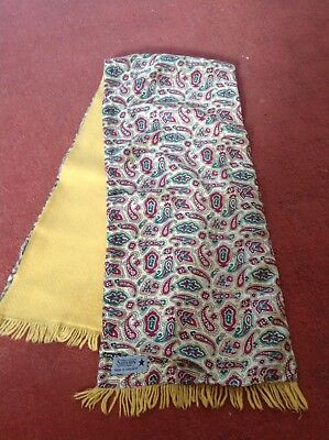 Vintage Retro,mod,scooter,sammy Yellow Paisley Scarf 1960s Reversible