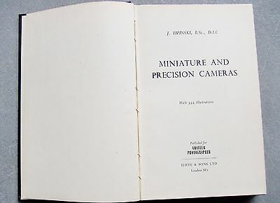 MINIATURE & PRECISION CAMERAS by LIPINSKI. 2nd IMPRESSION 1956