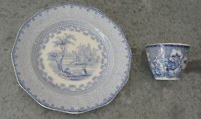 Eton College tea plate and small transfer printed vessel