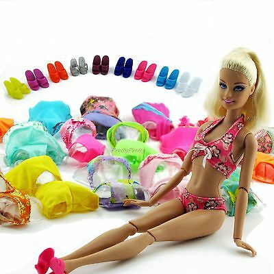 Lot10= 5 Swimsuit Beach Swimming Clothes + 5 Slipper For Barbie Doll Swimwear #G