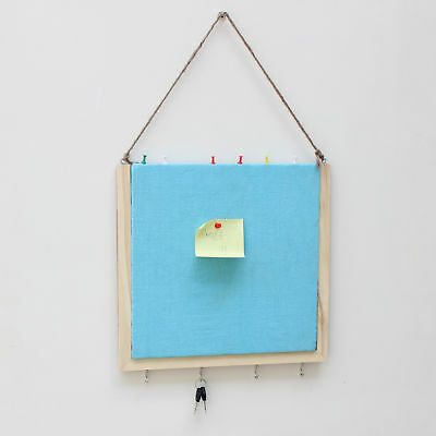Handmade Crafted Wooden Pinboard with Keyhooks - Blue