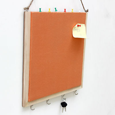 Handmade Crafted Wooden Pinboard with Keyhooks - Orange