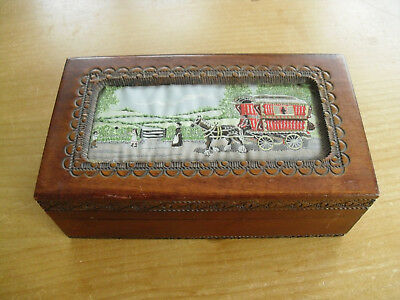"Cash's Silk Topped Wooden Box - Gypsy Caravan - <6 3/4""(17cms)"