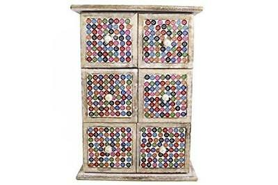 Button Design Six Draw Unit Handcrafted Shabby Rustic Box Mosaic Vintage Wooden