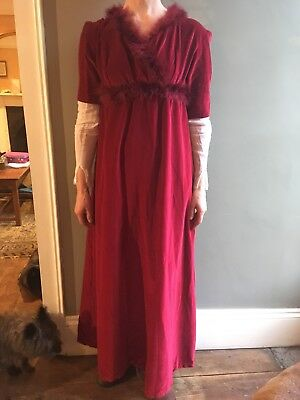 Austen Georgian Style Costume Dress size 10 red velvet