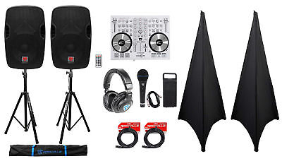 """DJ System Package: (2) 12"""" Powered Speakers+Headphones+Microphone+Stands+Cables"""