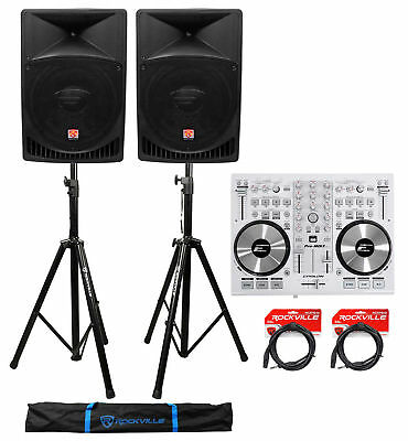 """DJ System Package: (2) 15"""" Active Speakers+Controller+Stands+Cables+Carry Bag"""