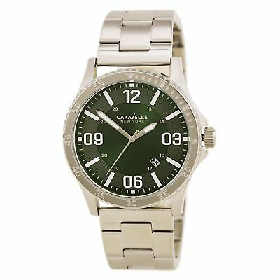 Caravelle New York by Bulova 43B129 Mens Green Dial Quartz Date Watch