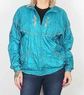 Shell Suit Track Top UK 10 Small Bomber 90's Jacket Oversized 8 (7DE)