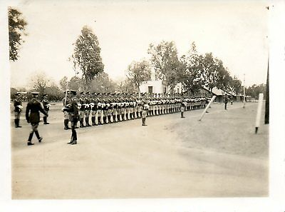 BRITISH SOLDIERS LINING UP FOR INSPECTION cWW2 MILITARY PHOTO