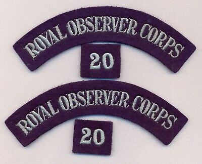 Ww2 Pair Of Royal Observer Corps Cloth Shoulder Titles