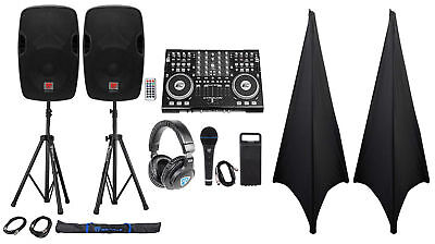 """Full DJ System Package w/Controller+Powered 12"""" Speakers+Headphones+Mic+Stands"""